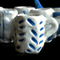 Set of six small cups- Blue and white miniature mugs, pottery - Set of six small mugs- Ceramic shot glasses- Litle mugs- Unique design