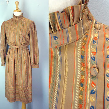 Vintage 70s Dress / Secretary Dress / Autumn Dress / 1970s Size Small