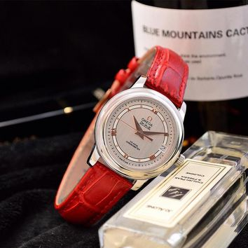 DCCK  O027 Omega Quartz Chronometer CO-AXIAL Leather Strap Watches Red