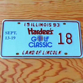 1993 Illinois Land of Lincoln Hardee's Golf Classic License Plate 18