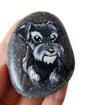 Miniature Schnauzer, Portrait Stone, Dog Painting, Paperweight, Pet Memorial Gift, Animal Art, Black and White