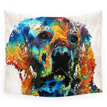 Society6 Colorful Dog Art Heart And Soul By Sharo Wall Tapestry