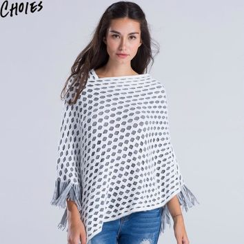 Knit Tassel Poncho White Cut Out Crochet Double Layered Asymmetrical Faux Cashmere Shawl Cape