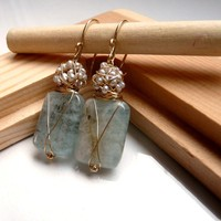 New The Camille - sweet earrings with big aquamarine and silver sea pearls