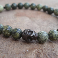 Black Finish Pewter Skull with Russian Jade (Serpentine), For Him