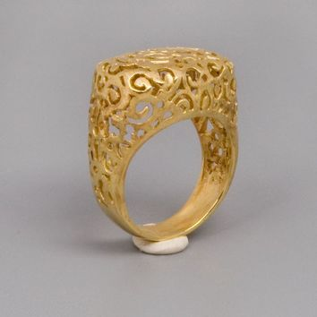Gold Filigree Ring - Handmade 14k Yellow gold Plated Ring - Thin Golden Lace Ring