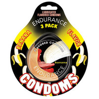 Hott Products Endurance Banana Flavored Condoms  3 Pack