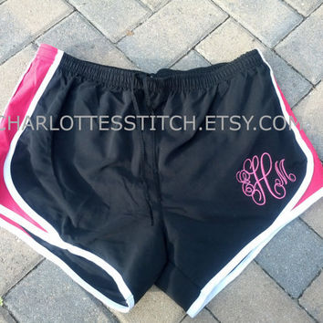 Monogrammed Running Shorts Ladies and Youth by CharlottesStitch