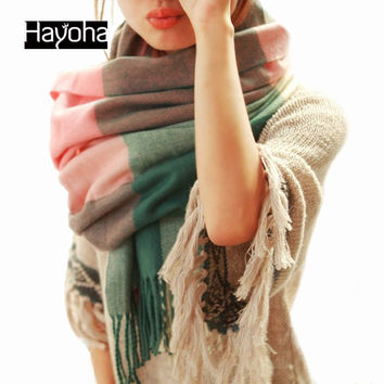 2014 Autumn and Winter Wool Fashion Leisure Scarf Men and Women Couple Section of Thick Plaid Scarf Shawl Long scarf