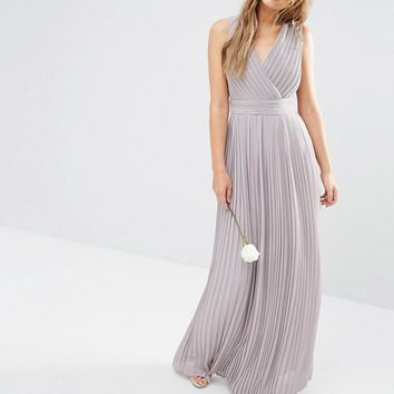 TFNC WEDDING Pleated Wrap Maxi Dress at asos.com