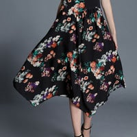 Black Floral Print Asymetric Dress