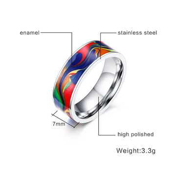 Classic jewelry Abstract Oil Painting ring 7MM Stainless Steel Enamel Ring support