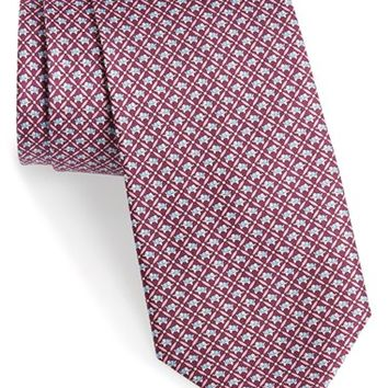 Men's Salvatore Ferragamo Elephant Print Silk Tie, Size Regular