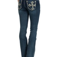 Miss Me Women's Dark Wash Pastel-A-Ganza Cross Boot Cut Jeans