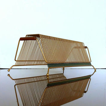 VINTAGE RECORD HOLDER 1960s Retro Desk Accessory - Letter Holder - Mail Organizer - Gold Tone Brass Finish - Mid Century Wire Record Rack