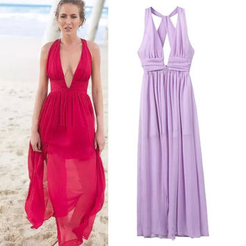 Women's Fashion Deep V High Rise Sleeveless Maxi Dress One Piece Dress [4918981636]