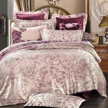 UNIHOME 2014 Luxury Jacquard Satin comforter cover queen size 4 Silk bedclothes duvet covers bed linen bedding set home textile