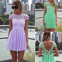 Womens Floral Lace Casual Cocktail Party Mini Dress