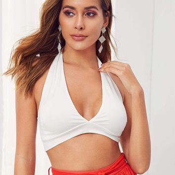 Solid Plunge Neck Backless Crop Top