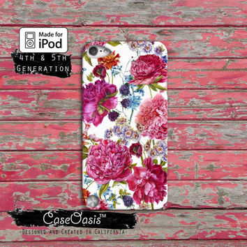 Vintage Floral Pattern Wallpaper Roses Flowers Cute Case iPod Touch 4th Generation or iPod Touch 5th Generation or iPod Touch 6th Gen Rubber