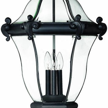 "0-018857>27""h San Clemente 3-Light Extra-Large Outdoor Post Lantern Museum Black"