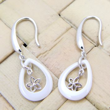 925 Silver Rhodium Hawaiian Plumeria Flower White Ceramic Tear Drop Earrings