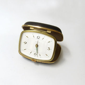 Vintage collectible 1960s German Europa 4 jewel travelling alarm clock