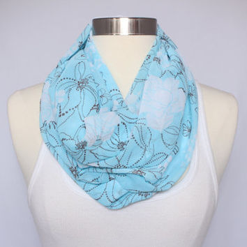 Lightweight Infinity Scarf - Turquoise Floral