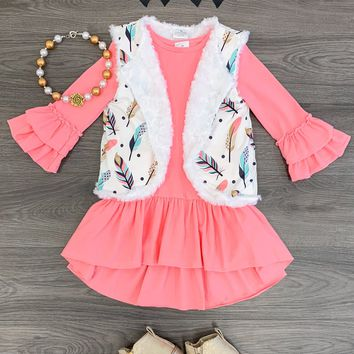 CORAL/PINK FEATHER VEST DRESS