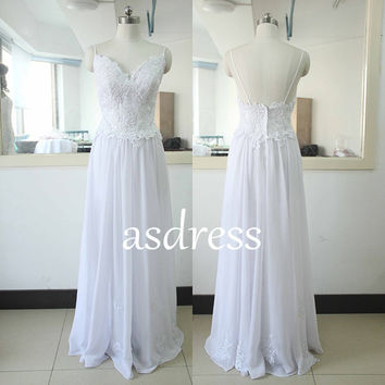 2015 High quality White Lace Beach Wedding dress Sexy spaghetti straps lace wedding dress Sweetheart Bridal gowns Backless Lace wedding gown