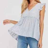 sleeveless gathered ruffle double tie blouse - silver