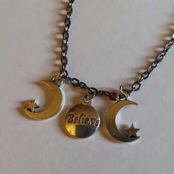 triple believe goddess moon pagan necklace jewelry occult