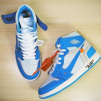 "Off White x Nike AIR Jordan 1 ""White&Blue"" Men Basketball Shoes AQ0818-148"