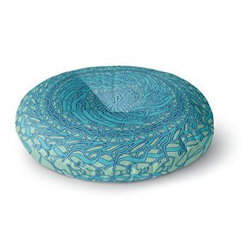 KESS InHouse Patternmuse Mandala Spin Mint Green Blue Round Floor Pillow, 26""