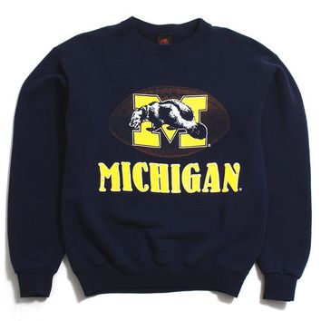 University of Michigan Football & 1970s Logo PM Sports Crewneck Sweatshirt Navy (Medium)