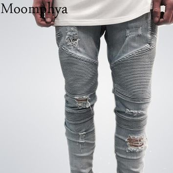 Mens Jeans Casual Denim distressed Men's Slim Jeans pants Brand Biker jeans skinny ripped jeans