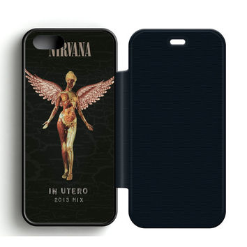 Nirvana In Utero Leather Wallet Flip Case iPhone 5 | 5S