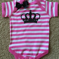 Crown Onesuit - Striped Onesuit - Girls Onesuit -  Body Suit - Glitter  - Onesuit - Ruffles with Love - Baby Clothing - RWL Kids