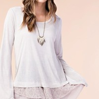 Bell Sleeve Lace & Chiffon Bottom Top - Cream