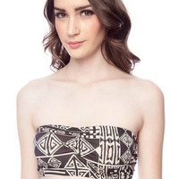 Tribal Print Bandeau in Black and White