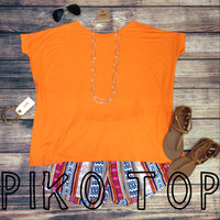 SHORT SLEEVE PIKO IN TANGERINE