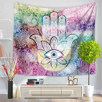 6 Colors Hamsa Hand Printed Tapestry Indian Mandala Wall Hanging Tapestries Carpet Beach Blanket Yoga Mat Home Decorations
