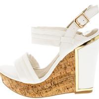 JUSTINE5 WHITE BUCKLE GOLD TRIM CORK WEDGE