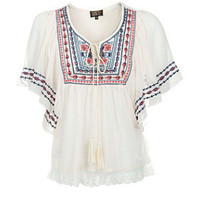 Tokyo Doll Cream Sheer Embroidered Gypsy Top