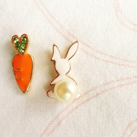 Funky earrings, rabbit and carrot, cute birthday gift for girls, funny party earrings girly accessories jewelry gift for girls best friend