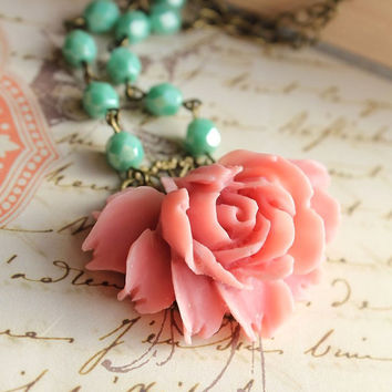 Pink Rose Necklace Coral Flower Pendant Aqua Glass Beaded Chain Seafoam Mint Shabby Chic, Vintage Style, Resin Floral Spring Accessories