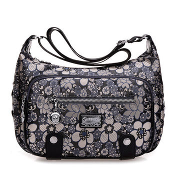 Casual Nylon Flower Pattern Durable Shoulder Bag Crossbody Bags For Women