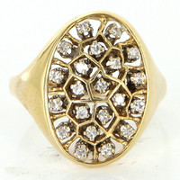 Vintage 14 Karat Yellow Gold Diamond Oval Large Cluster Cocktail Ring Estate