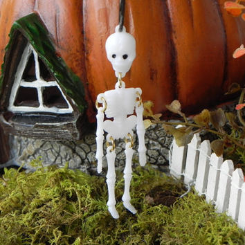Miniature Halloween Skeleton on shepherd hook for miniature garden or terrarium accessories