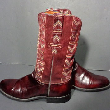 Lucchese Burgundy Red Leather Western Cowgirl Boots Women's Size 6.5